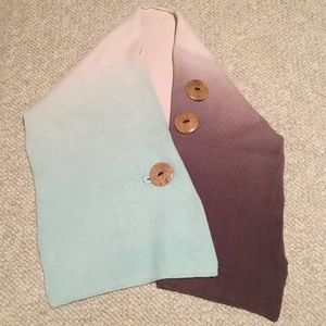 Ombré Knit Shawl with Buttons